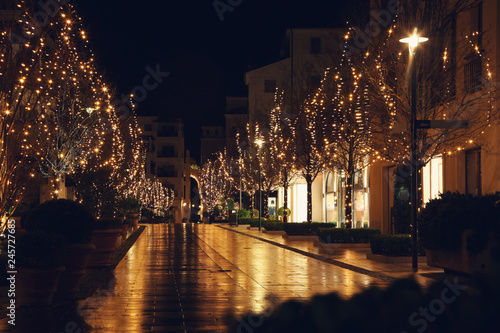 Christmas Decoration In Small Town Night View Buy Photos Ap