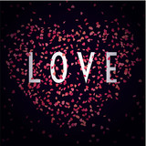 Love sign with pink paper confetti in shape of hearts for St. Valentine's Day design.