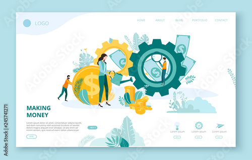 Landing page for site or web page template for business projects with people, money and space for text on white background.