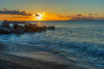 Landscape of sunrise on the sea beach, Santorini, Greece © BajeczneObrazy.pl