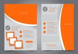 Flyer template. Brochur design for a business, education, advertisement. A4 poster layout Vector illustration. Orange color.