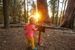 Leinwandbild Motiv boy visit Sequoia national park in California, USA