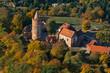 Leinwanddruck Bild - Burg Stargard, Mecklenburg-Vorpommern, Deutschland, Luftaufnahme, 14.10.2018