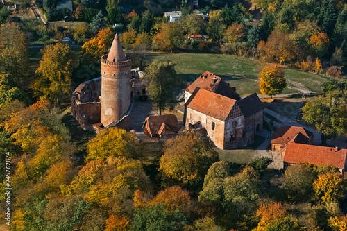 Leinwanddruck Bild Burg Stargard, Mecklenburg-Vorpommern, Deutschland, Luftaufnahme, 14.10.2018
