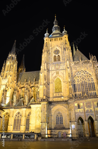St. Vitus Cathedral in Prague by night
