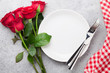 Dinner setting with rose flowers bouquet - 245766059