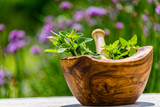 Fresh herbs from the garden in wooden olive mortar against with sunny garden background. Image - 245776649