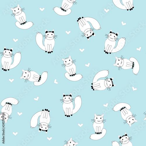 fototapeta na ścianę Cartoon white cats seamless pattern