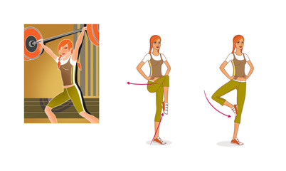 Girl lifting the barbell. Training and balance exercises © iuliiawhite