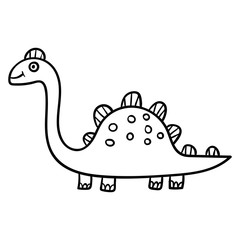 Cartoon doodle linear dinosaur, stegosaurus isolated on white background. Vector illustration.