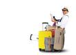 Leinwanddruck Bild - Luggage tourists with big suitcases, travel holiday