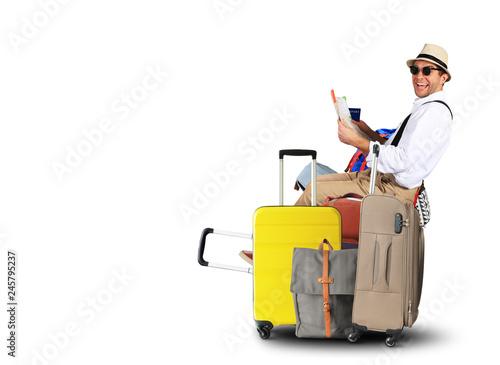 Leinwanddruck Bild Luggage tourists with big suitcases, travel holiday