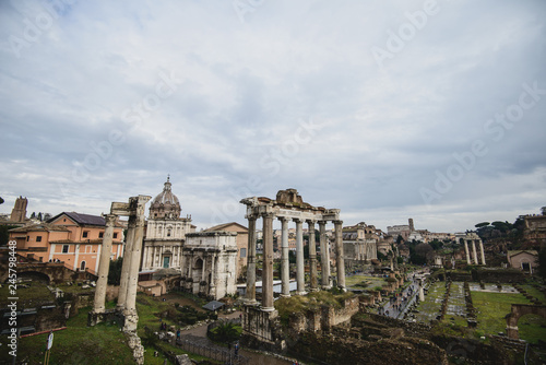 Ruins of the Roman Forum at Palatino hill in Roma, Italy - 245798448