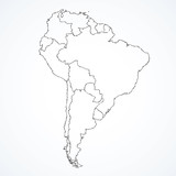 South America continent with contours of countries. Vector drawing - 245810469