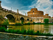Rome Castel Saint Angel and bridge over Tiber river