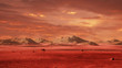 landscape on planet Mars, scenic desert surrounded by mountains on the red planet