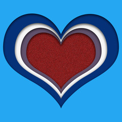 Multicolored heart with red sparkling core, paper cut