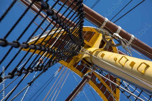 ship rigging, mast and ropes against a blue sky