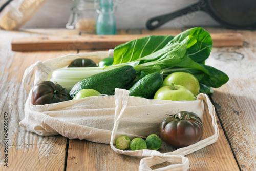 Foto Murales Healthy Food Fabric Eco Bag Fruit vegetable Vegetarian Vegan