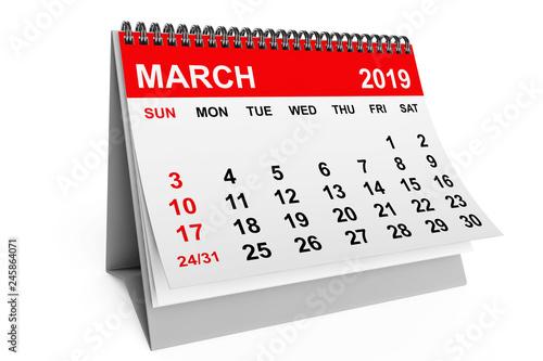 Calendar March 2019. 3d rendering
