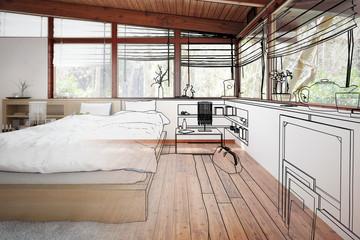Patioausbau zum Schlafzimmer (Konzept)