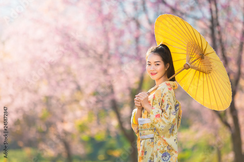 b67e2363b4c44 Asian beautiful woman wearing traditional japanese kimono and cherry  blossom in spring