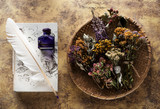Dried medicinal herbs and herbal tea, recipe book and inkwell with feather. Herbal medicine - 245873669