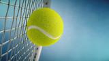 Tennis racket hits tennis ball. Closeup on blue background- 3d rendering