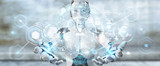 White woman robot using digital screen interface 3D rendering