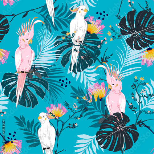 Summer Tropical floral print. Parrot bird in the jungle and flowers in the exotic forest  allover design, seamless pattern vector for fashion ,wallpaoer and all prints © MSNTY