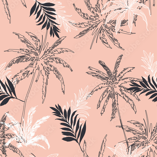 fototapeta na ścianę Trendy Seamless pattern vector Tropical jungle palm leaves, trees floral pattern design for fashion ,fabric wallpaper and all prints