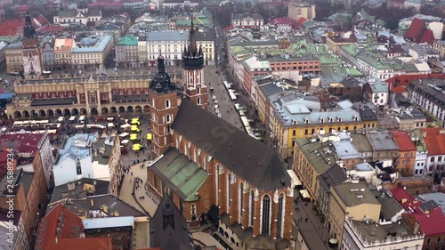 Krakow old city evening aerial 4k drone footage