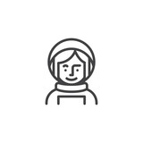 Woman astronaut avatar character line icon. linear style sign for mobile concept and web design. Spacewoman in space suit outline vector icon. Cosmonaut symbol, logo illustration - 245889452