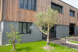 new build modern wood office building with warehouse