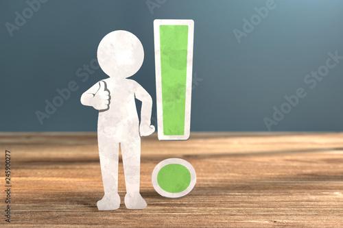 Leinwanddruck Bild 3D Illustration weißes Männchen aus Papier Ausrufezeichen