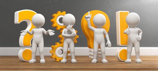 3D Illustration weißes Männchen Idee und Entwicklung gelb