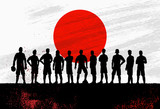 Silhouette of soccer team with flag of Japan as a background, Vector Illustration