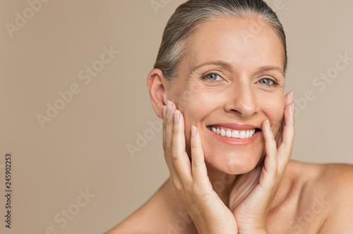 Leinwandbild Motiv Mature woman with perfect skin