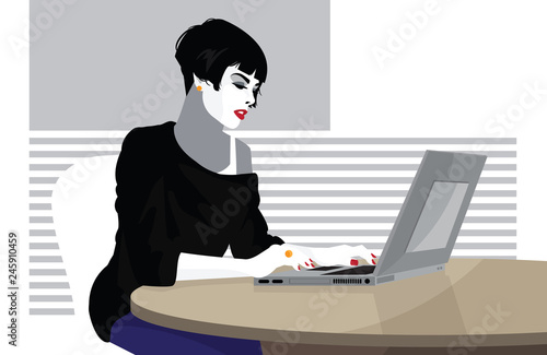 Business woman is working on the laptop computer. © Yevhen