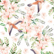Watercolor pattern with spring flowers, eucalyptus leaves and birds .  - 245917256