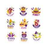 Diwali logo design set, Hindu festival of lights labels, poster, invitation, flyer, greeting card templates vector Illustration