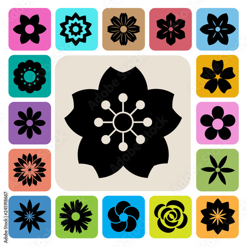 Set of Flower icons. - 245918667