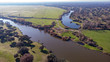 Aerial viewe of two rivers along the countryside