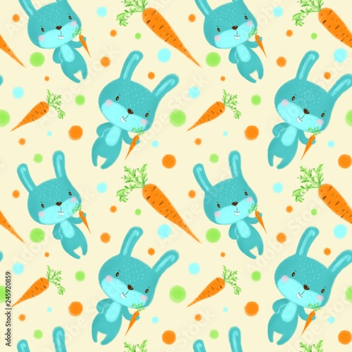 Seamless pattern with rabbits on light yellow background - 245920859