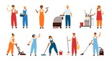 Set of smiling male and female cleaning service workers, home cleaners or housekeepers with floor polishing machines, mops, wipers isolated on white background. Flat cartoon vector illustration.