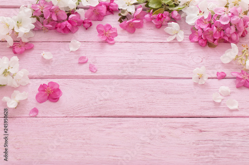 apple flowers on wooden background - 245950628