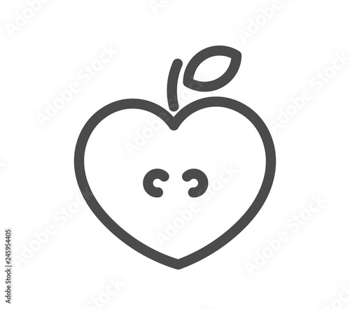 Heart shaped apple line icon. - 245954405