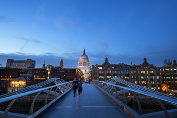 Millenium Bridge, with St. Paul's Cathedral, UK