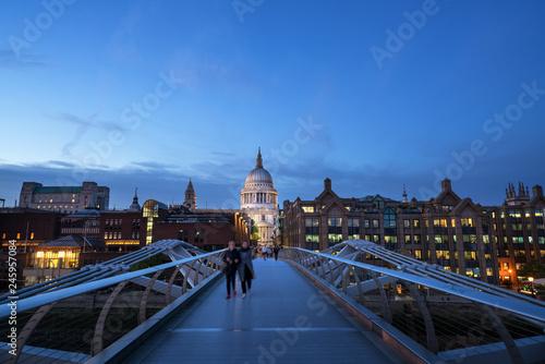 Millenium Bridge, with St. Paul's Cathedral, UK - 245957084