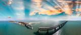 Florida keys broken bridge, turquoise water - 245957848